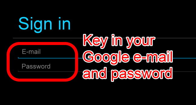 3 key in google email and password on bluestacks