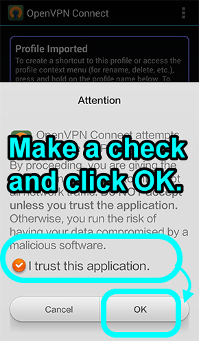 8 you have to mark a check to trust this app and click on ok