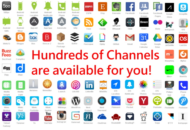 IFTT0-hundreds of channels are available. for example, youtube, dropbox, feedly, blogger, facebook, instagram.......