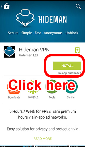 downloading process of hideman for android  (1)