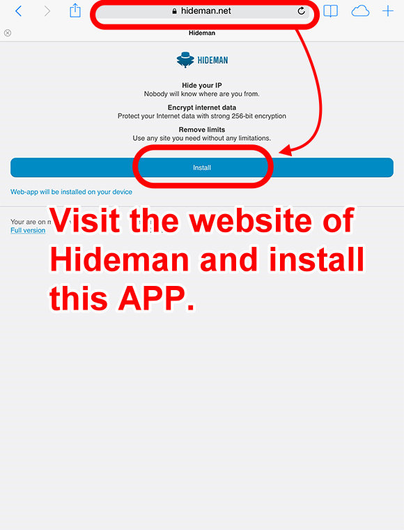 downloading process of hideman for ios 2