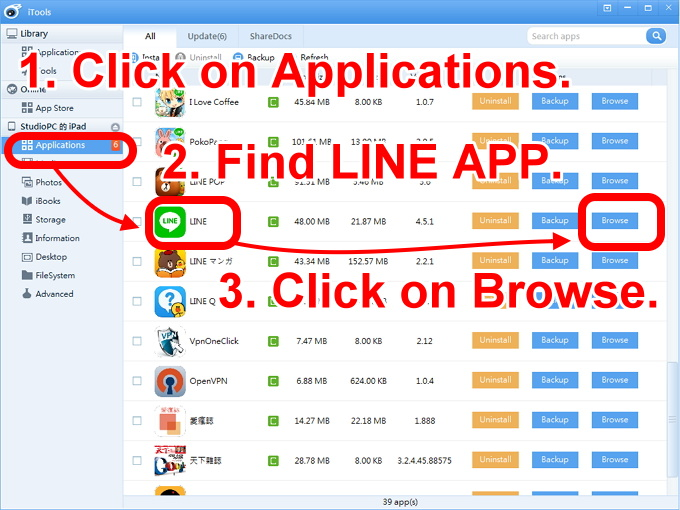 iOS 2-click on applications to find LINE app. click on browse.