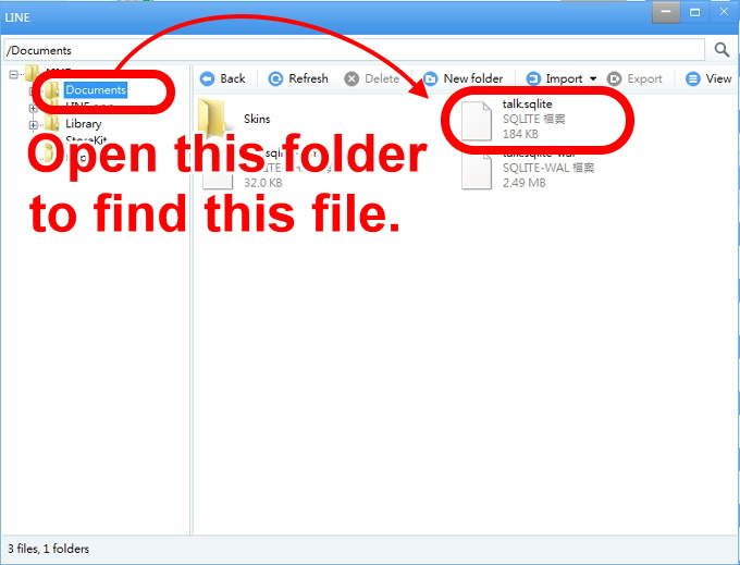 iOS 3-open the folder Documents and find a file named talk sqlite