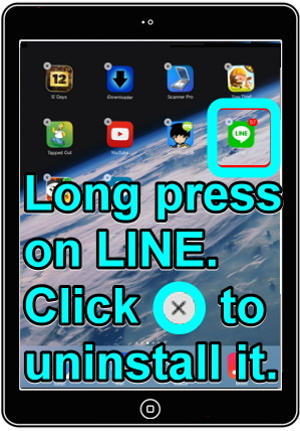 iOS 7-have a long press on LINE to uninstall it