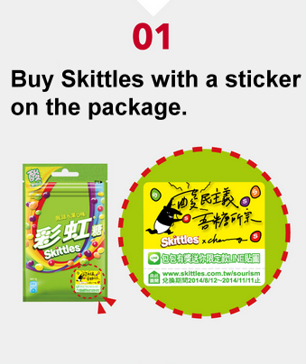 step 1 buy skittles with LINE image on the package