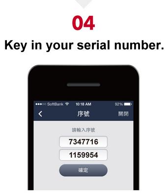 step 4 key in serial number