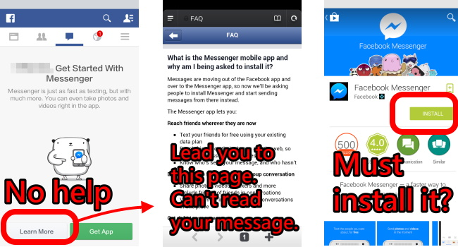 Can't avoid FB messenger APP FB force you to install app