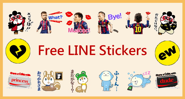 Free LINE stickers of POKOPOKO, FC Barcelona & Coke