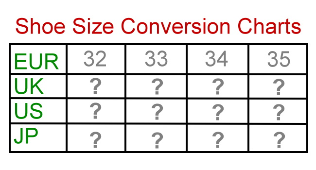 Shoe size conversion charts and tables