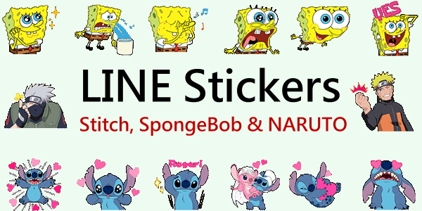 LINE stickers List_Stitch and SpongeBob SquarePants 2